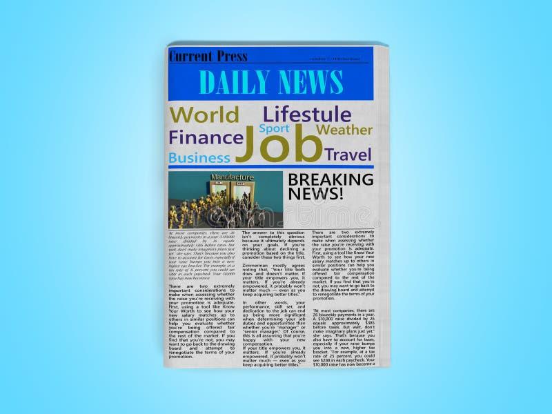 Η εφημερίδα που αφιερώνεται στην εύρεση της εργασίας τρισδιάστατης δίνει στο μπλε ελεύθερη απεικόνιση δικαιώματος