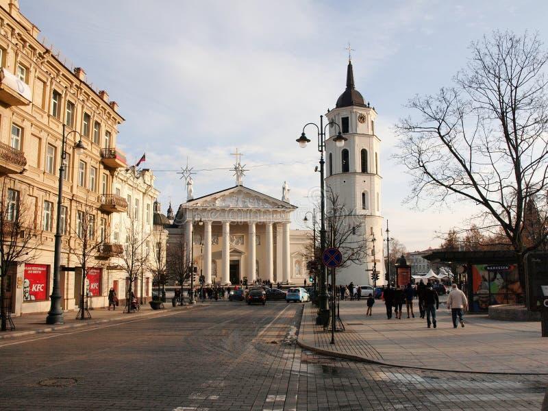 Η λεωφόρος Gediminas είναι ο κεντρικός δρόμος στο κέντρο Vilnius στοκ φωτογραφία με δικαίωμα ελεύθερης χρήσης