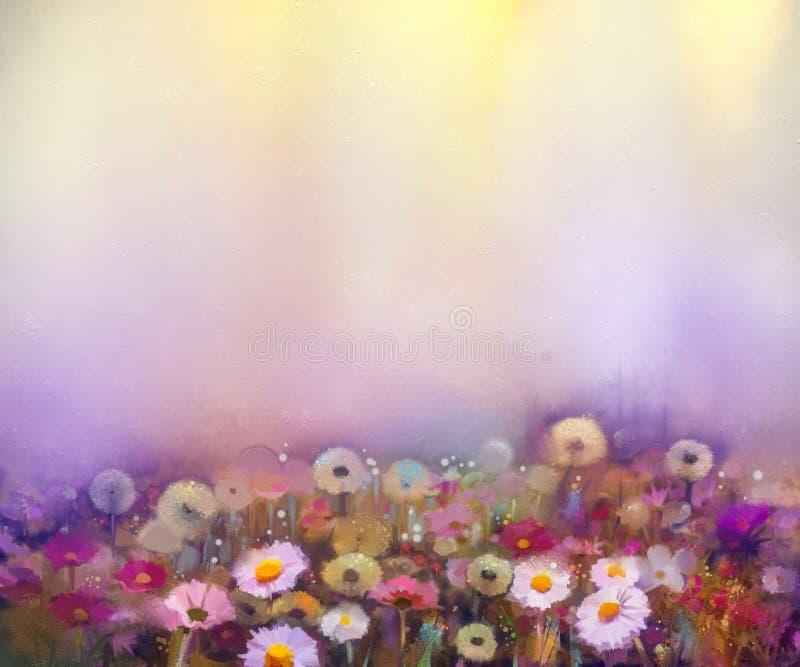 Η ελαιογραφία ανθίζει την πικραλίδα, παπαρούνα, μαργαρίτα, cornflower στον τομέα ελεύθερη απεικόνιση δικαιώματος