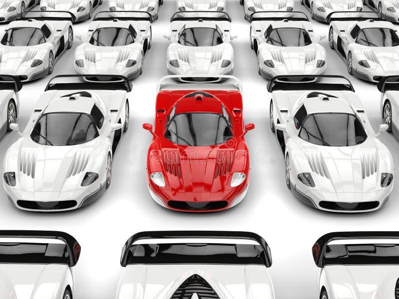 Η ζάλη του κόκκινου σύγχρονου αθλητικού αυτοκινήτου έννοιας ξεχωρίζει σε μια θάλασσα των άσπρων αθλητικών αυτοκινήτων ελεύθερη απεικόνιση δικαιώματος