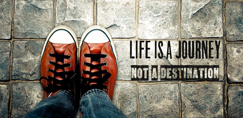 Η ζωή είναι ένα ταξίδι όχι ένας προορισμός, απόσπασμα στοκ εικόνα