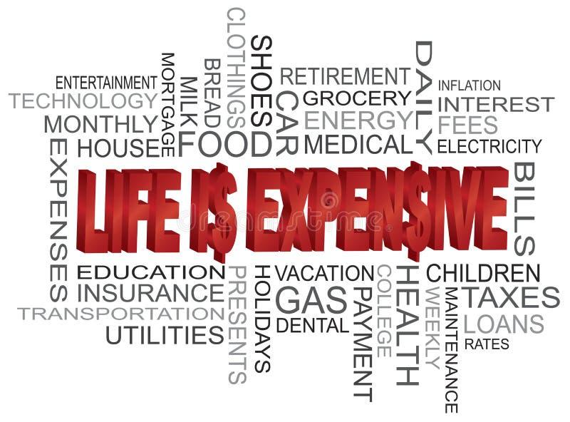 Η ζωή είναι ακριβό σύννεφο του Word απεικόνιση αποθεμάτων