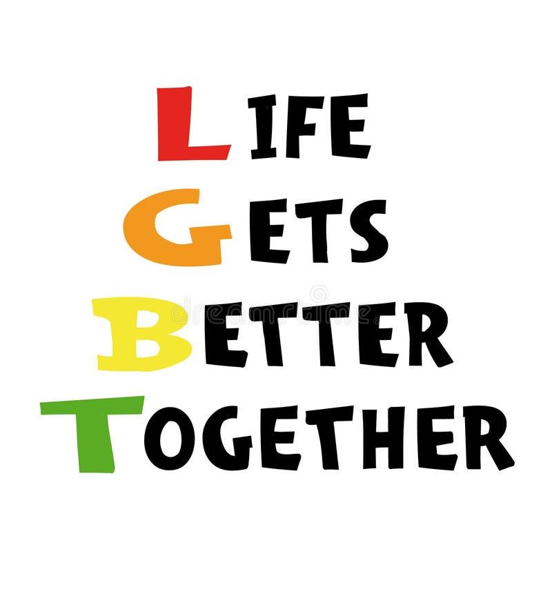 Η ζωή συναντιέται με καλύτερα - δώστε τη συρμένη αφίσα Έννοια LGBT Γράφοντας για την αφίσα, έμβλημα, κάρτα, ιπτάμενο διανυσματική απεικόνιση