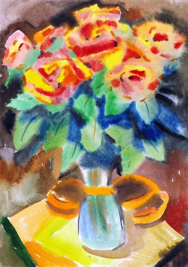 Η ζωγραφική αυξήθηκε λουλούδια διανυσματική απεικόνιση