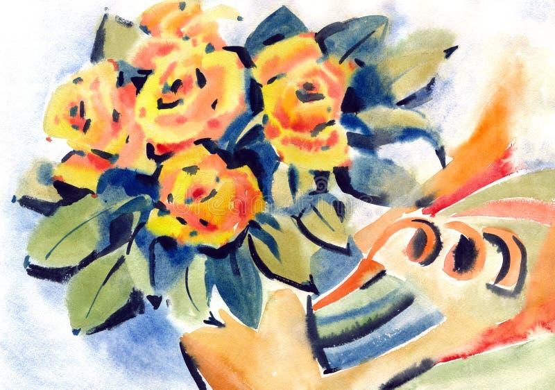Η ζωγραφική αυξήθηκε λουλούδια απεικόνιση αποθεμάτων