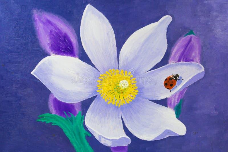 Η ζωγραφική γίνεται στο πετρέλαιο Άσπρο λουλούδι Lotus με ένα κόκκινο ladybug σε ένα φύλλο ελεύθερη απεικόνιση δικαιώματος