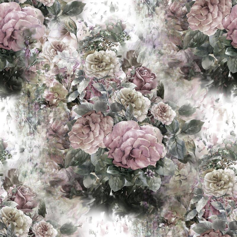 Η ζωγραφική Watercolor του φύλλου και των λουλουδιών, αυξήθηκε, άνευ ραφής σχέδιο ελεύθερη απεικόνιση δικαιώματος