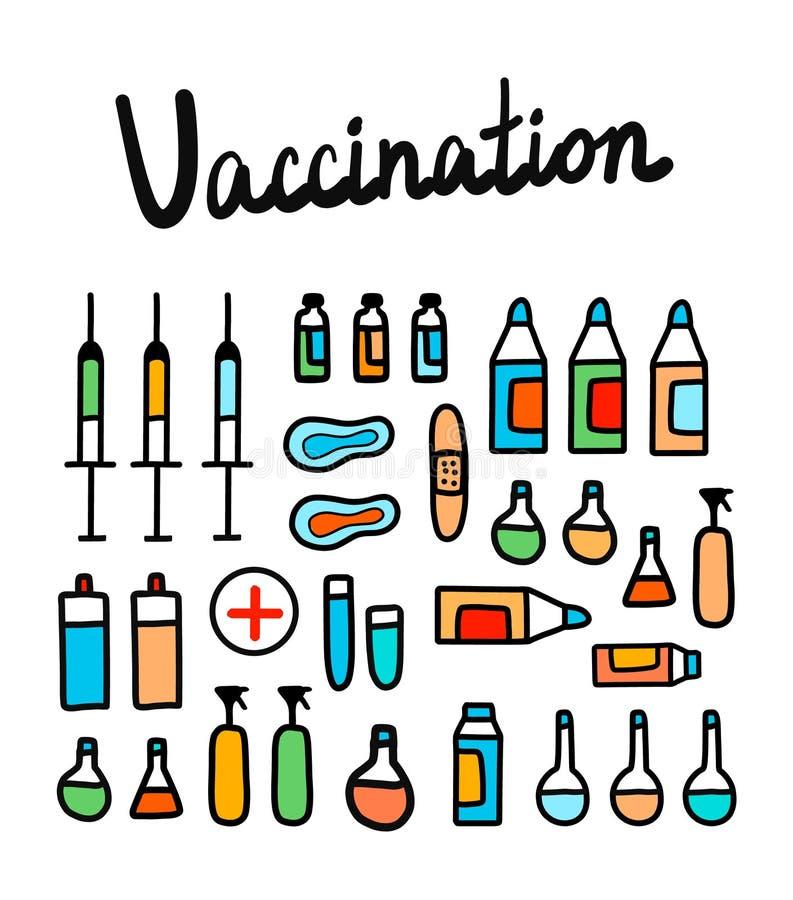 Η ζωηρόχρωμη απεικόνιση εμβολιασμού με τα ιατρικά στοιχεία δίνει το συρμένο μινιμαλισμό για τη θεραπεία και το neonatology παιδια διανυσματική απεικόνιση