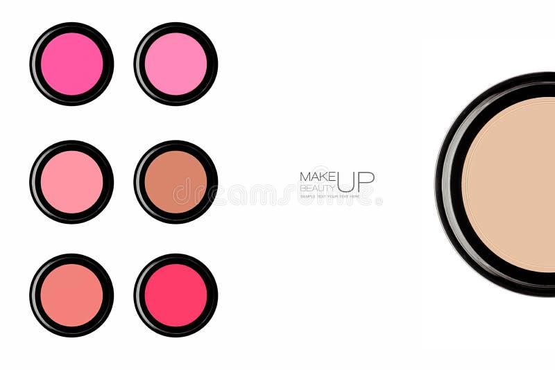 Η ζωηρόχρωμη σειρά καθιερώνοντος τη μόδα κοκκινίζει και κονιοποιεί makeup στοκ φωτογραφίες με δικαίωμα ελεύθερης χρήσης