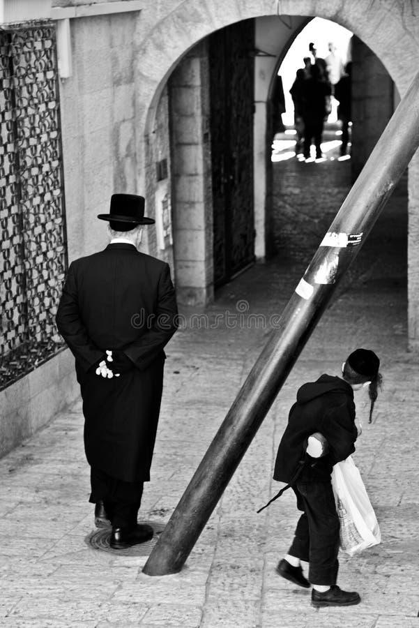 Ηληκιωμένοι και αγόρι στην Ιερουσαλήμ, Ισραήλ στοκ φωτογραφίες