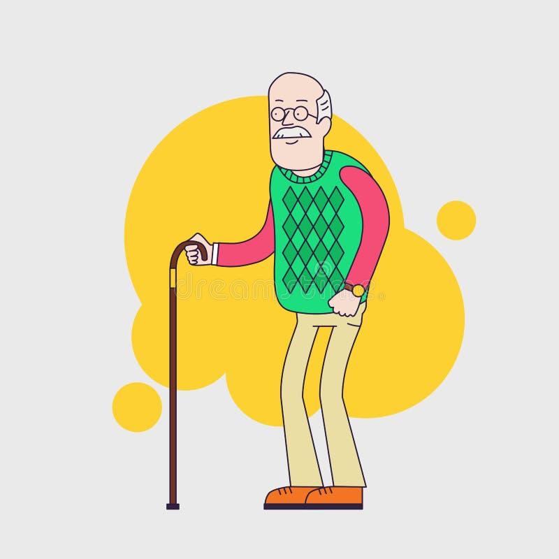 Ηληκιωμένος με τα γυαλιά, mustache και walkins τον κάλαμο ελεύθερη απεικόνιση δικαιώματος