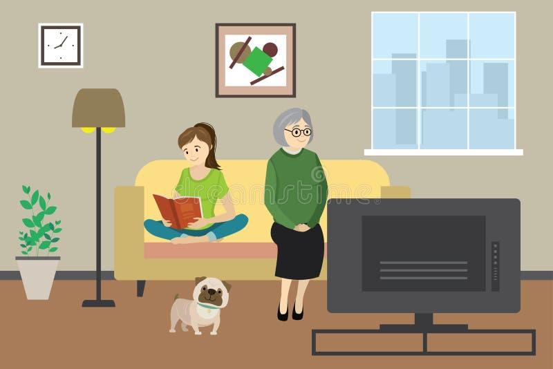 Η ηλικιωμένη γυναίκα ή η γιαγιά κινούμενων σχεδίων που προσέχει στο σπίτι τη TV με το σκυλί και τον έφηβο διαβάζει το βιβλίο, εσω ελεύθερη απεικόνιση δικαιώματος