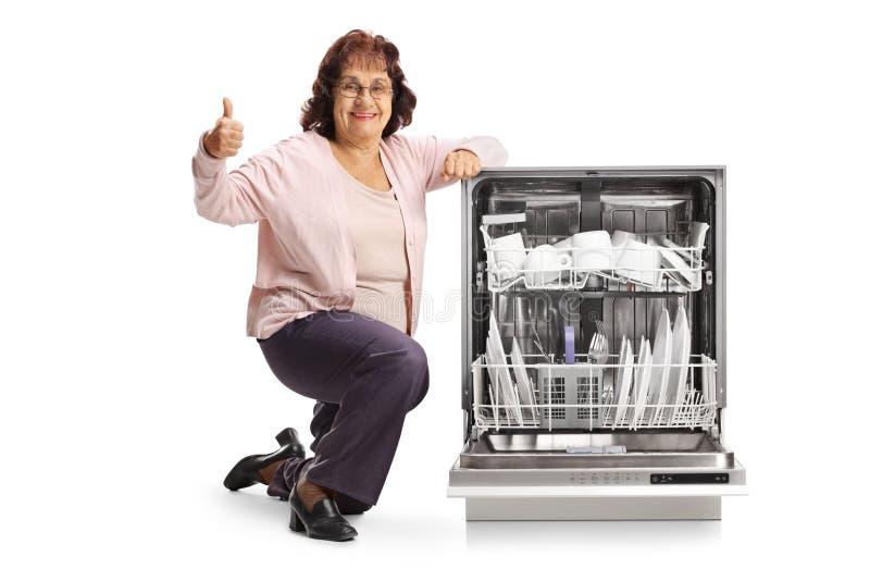 Η ηλικιωμένη γυναίκα με μια παρουσίαση πλυντηρίων πιάτων φυλλομετρεί επάνω στοκ εικόνες με δικαίωμα ελεύθερης χρήσης