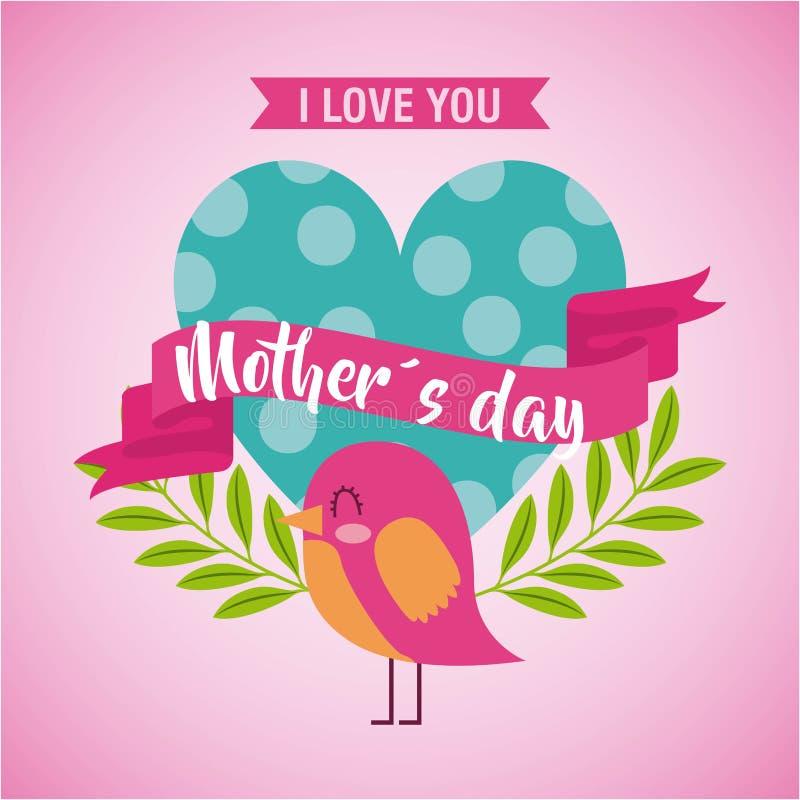 Η ημέρα μητέρων αγαπά εσείς λαναρίζει το διαστιγμένο πουλί καρδιών ελεύθερη απεικόνιση δικαιώματος