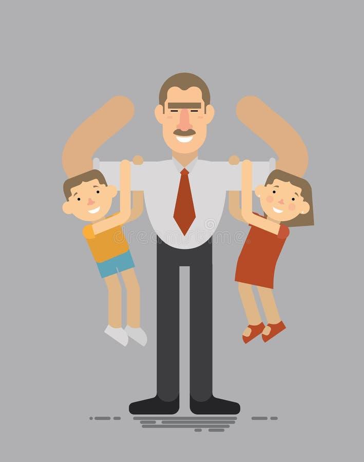Η ημέρα πατέρων, πατέρας Α που κρατά το γιο και την κόρη του, ο καλύτερος, αγαθό διασκεδάζει το επίπεδο ύφος παιδιών σας στοκ εικόνες