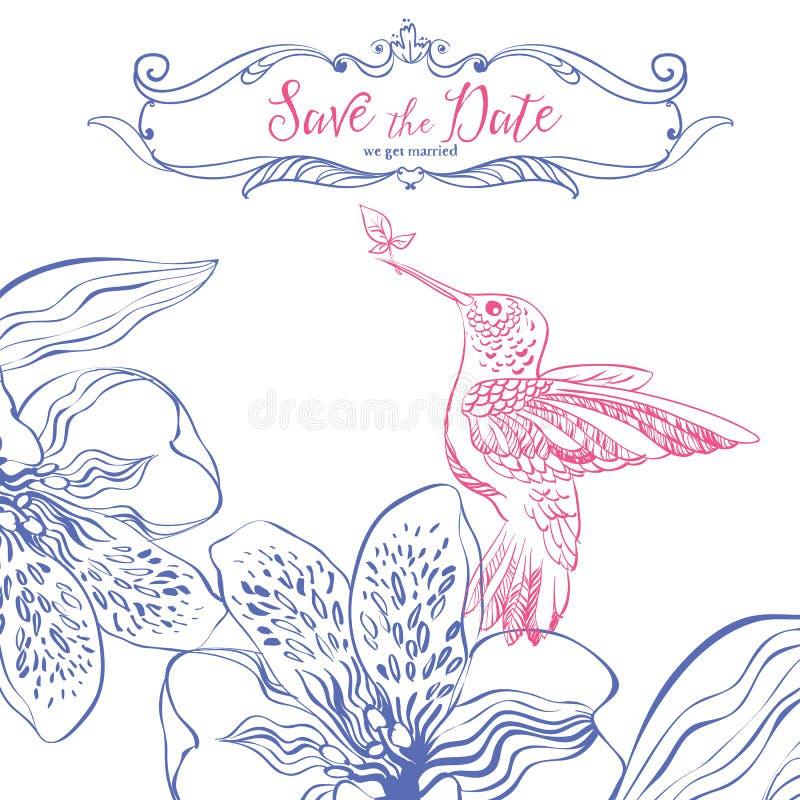 η ημερομηνία σώζει Κάρτα γαμήλιας πρόσκλησης με τα πουλιά και τη floral καρδιά απεικόνιση αποθεμάτων