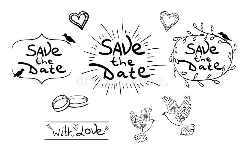η ημερομηνία σώζει Σύνολο συρμένων χέρι στοιχείων σχεδίου Εκλεκτής ποιότητας διάνυσμα μαύρο λευκό διανυσματική απεικόνιση