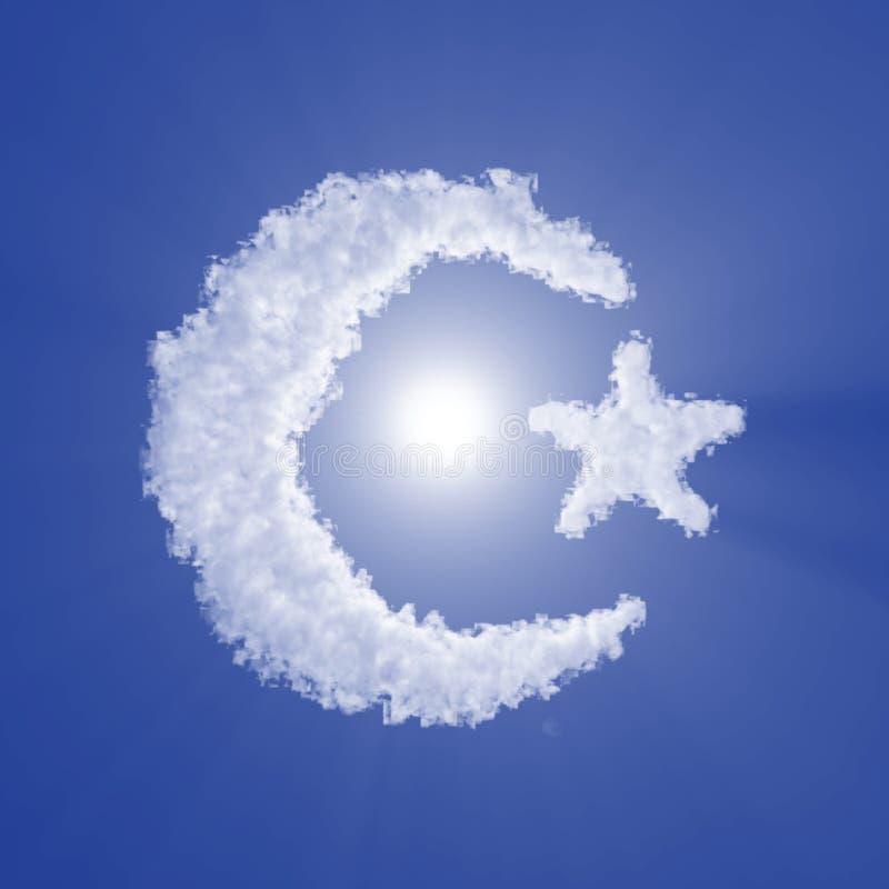 Η ημισέληνος Ισλάμ και το σύννεφο αστεριών υπογράφουν με το φως όγκου στο μπλε ουρανό και τον ήλιο r διανυσματική απεικόνιση