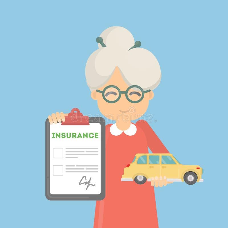 Η ηλικιωμένη γυναίκα παρουσιάζει ασφάλεια αυτοκινήτου απεικόνιση αποθεμάτων
