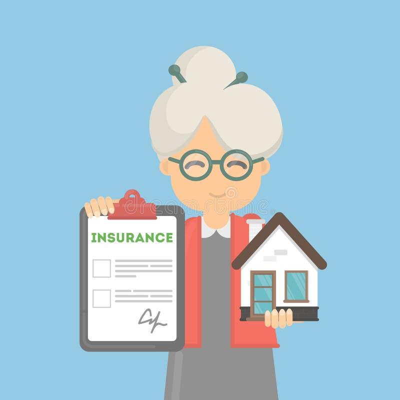 Η ηλικιωμένη γυναίκα παρουσιάζει ασφάλεια σπιτιών απεικόνιση αποθεμάτων