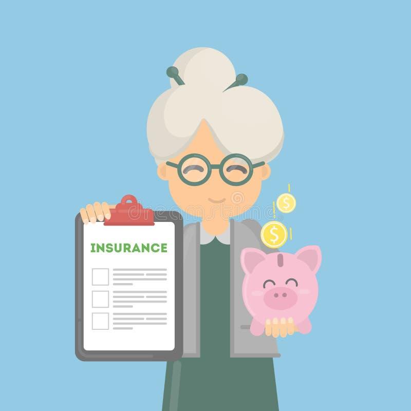 Η ηλικιωμένη γυναίκα παρουσιάζει ασφάλεια χρημάτων διανυσματική απεικόνιση