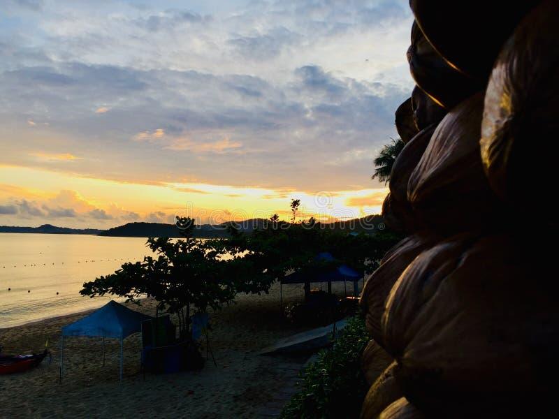 Η θάλασσα πρωινού στέλνει τον ήλιο καρύδων στοκ φωτογραφίες με δικαίωμα ελεύθερης χρήσης
