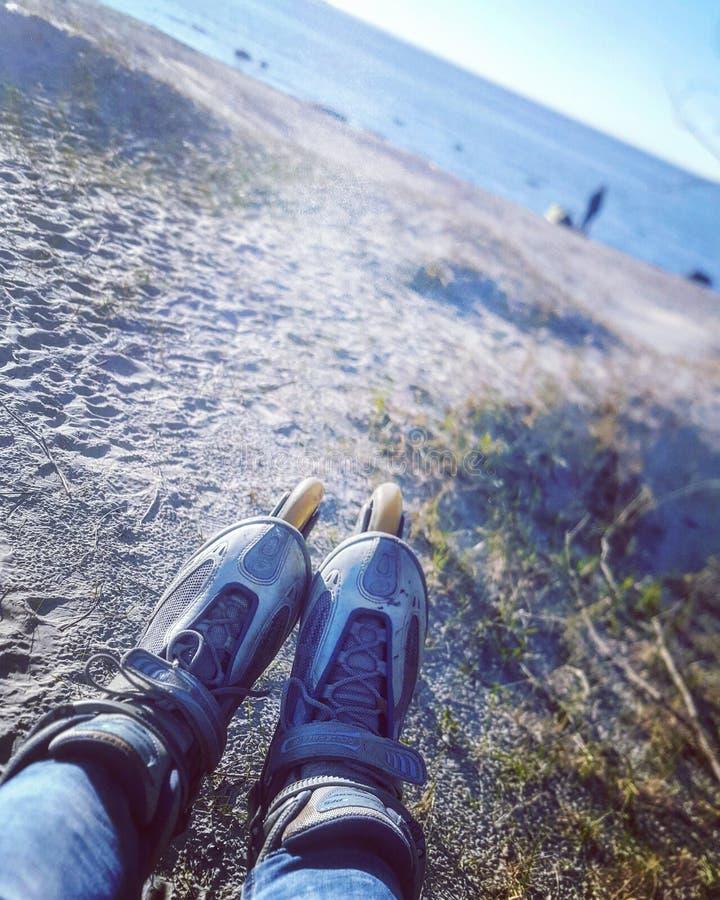 Η θάλασσα της Βαλτικής και κύλινδροι στοκ εικόνα