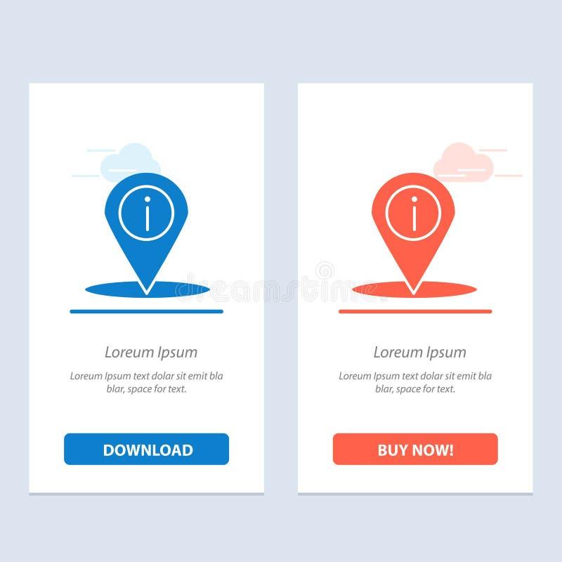 Η θέση, η ναυσιπλοΐα, η θέση, οι πληροφορίες μπλε και το κόκκινο μεταφορτώνουν και αγοράζουν τώρα το πρότυπο καρτών Widget Ιστού ελεύθερη απεικόνιση δικαιώματος