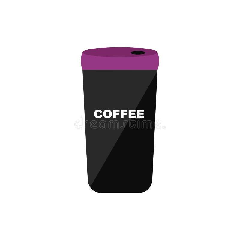 Η θερμο κούπα με τον καφέ για το πρωί ή το ταξίδι διανυσματική απεικόνιση