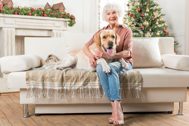 Η θετική ώριμη κομψή γυναίκα στηρίζεται με το κατοικίδιο ζώο στοκ εικόνες