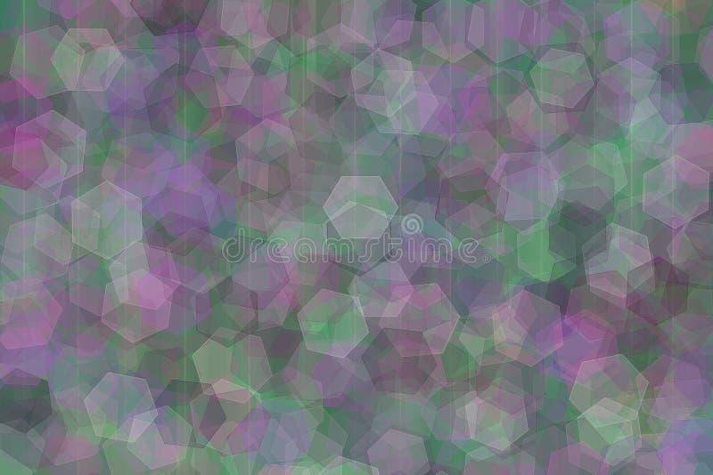 Η θολωμένη πολύχρωμη αφαίρεση η φωτεινή αφαίρεση των πολυγώνων κρητιδογραφιών οδοντώνει τον πορφυρό πράσινο καπνό και το έντονο φ διανυσματική απεικόνιση