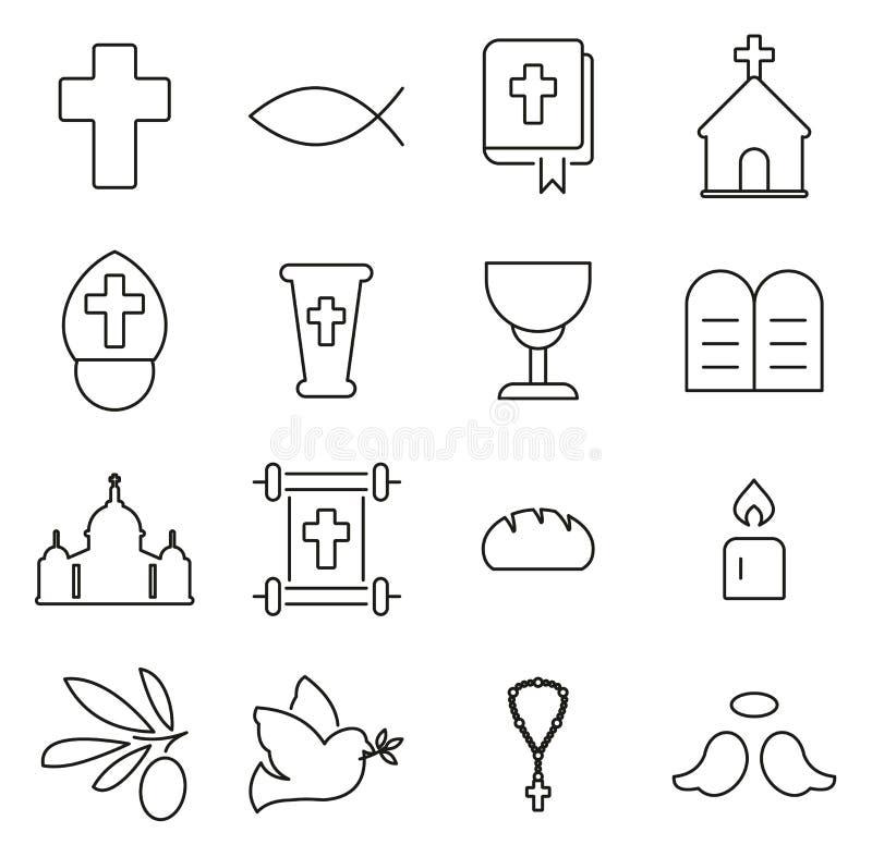 Η θρησκεία χριστιανισμού & τα θρησκευτικά εικονίδια στοιχείων λεπταίνουν το διανυσματικό σύνολο απεικόνισης γραμμών ελεύθερη απεικόνιση δικαιώματος