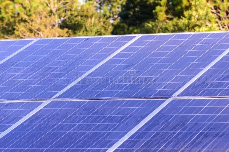 Ηλιακά κύτταρα για την ανανεώσιμη ηλιακή ενέργεια με τον ήλιο στοκ εικόνες με δικαίωμα ελεύθερης χρήσης