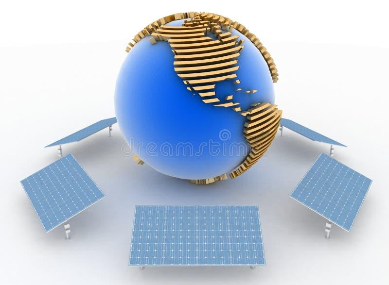 Ηλιακά πλαίσια και γη. Έννοια εναλλακτικής ενέργειας απεικόνιση αποθεμάτων