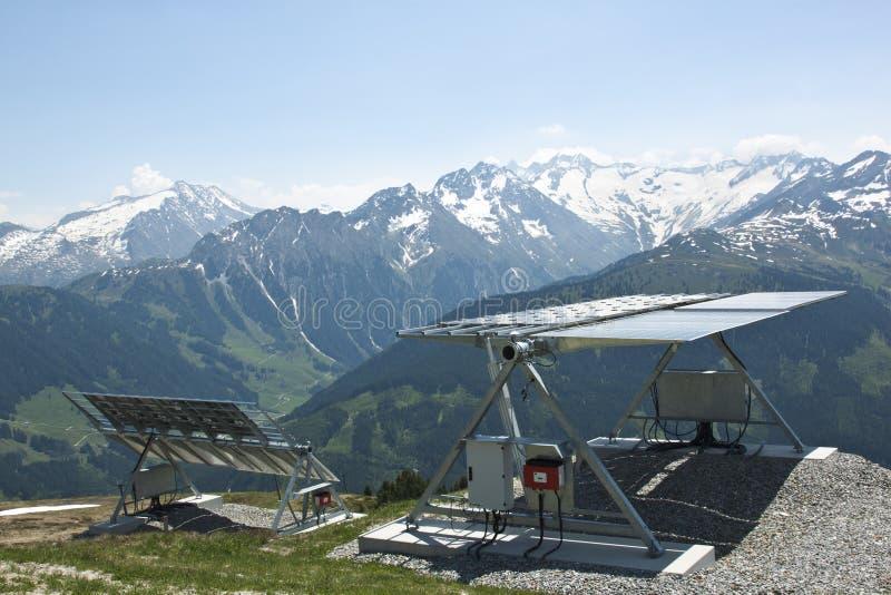 Ηλιακά πλαίσια σε Latschenalm, Gerlos, Αυστρία στοκ φωτογραφία