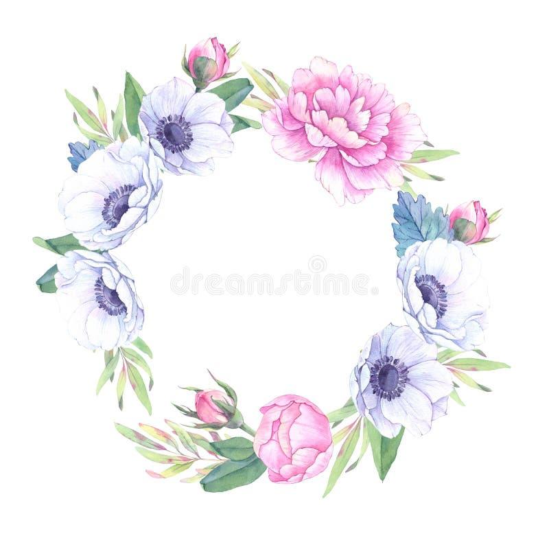 η διακοσμητική εικόνα απεικόνισης πετάγματος ραμφών το κομμάτι εγγράφου της καταπίνει το watercolor Floral στεφάνι με τα φύλλα, p διανυσματική απεικόνιση
