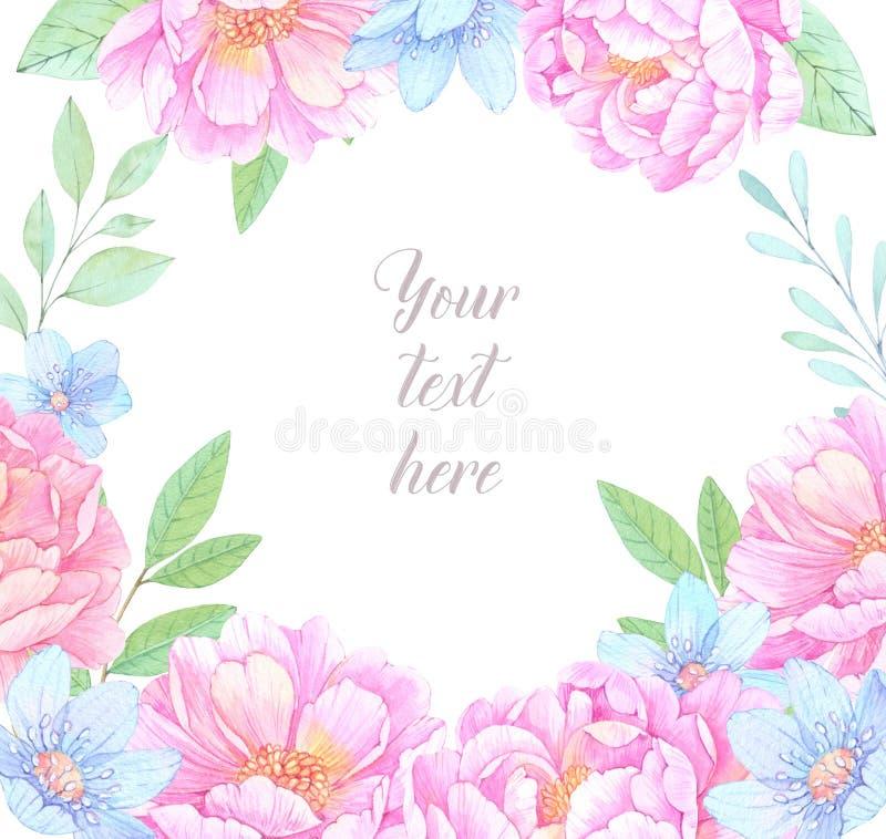 η διακοσμητική εικόνα απεικόνισης πετάγματος ραμφών το κομμάτι εγγράφου της καταπίνει το watercolor Floral πλαίσιο με τα λουλούδι ελεύθερη απεικόνιση δικαιώματος
