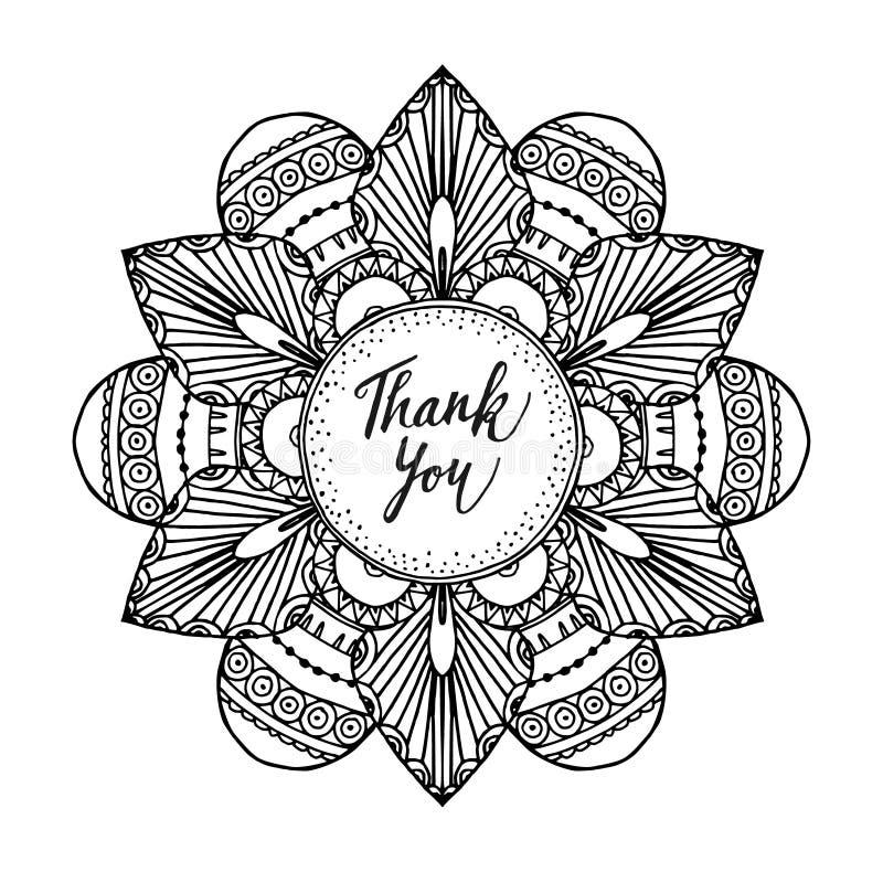Η διακοσμητική ευχετήρια κάρτα με το χέρι που σύρθηκε zentangle ενέπνευσε το mandala και σας ευχαριστεί κείμενο, τέχνη γραμμών διανυσματική απεικόνιση