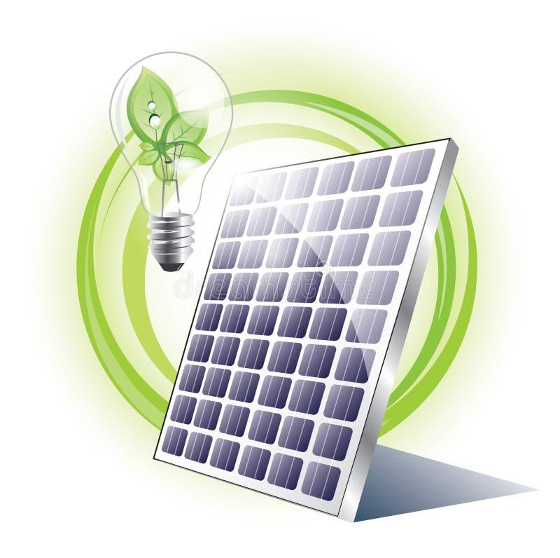 Λάμπα φωτός ηλιακού πλαισίου και eco απεικόνιση αποθεμάτων