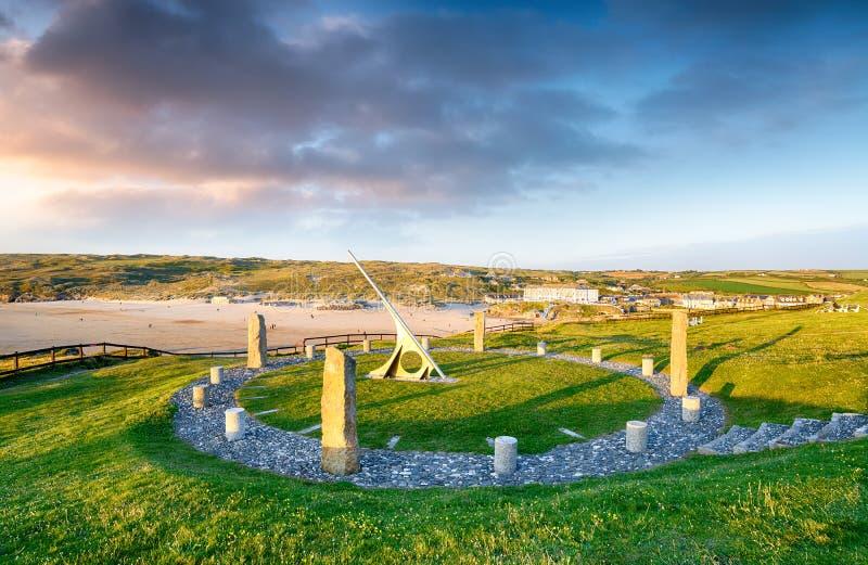 Ηλιακό ρολόι Perranporth στοκ φωτογραφία με δικαίωμα ελεύθερης χρήσης