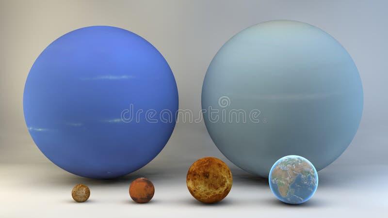Ηλιακό σύστημα, πλανήτες, μεγέθη, διαστάσεις απεικόνιση αποθεμάτων