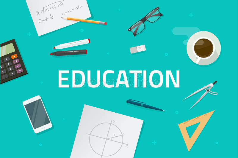 Η διανυσματική απεικόνιση έννοιας εκπαίδευσης, επίπεδη εκμάθηση ύφους αντιτίθεται στο γραφείο εργασίας με τη τοπ άποψη κειμένων ε ελεύθερη απεικόνιση δικαιώματος