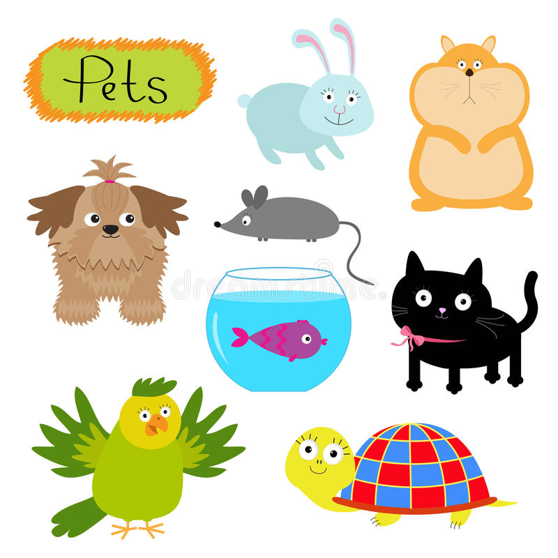 Η διανυσματική απεικόνιση κατοικίδιων ζώων απομόνωσε τη χαριτωμένη γάτα υποβάθρου συνόλου άσπρη, σκυλί, ψάρια, χάμστερ, παπαγάλος απεικόνιση αποθεμάτων