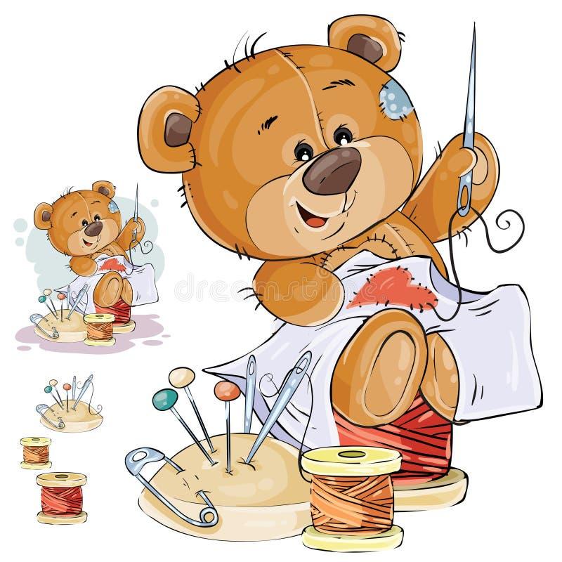 Η διανυσματική απεικόνιση καφετιού ενός teddy αντέχει το ράφτη ράβει ένα κόκκινο μπάλωμα με μορφή μιας καρδιάς ελεύθερη απεικόνιση δικαιώματος