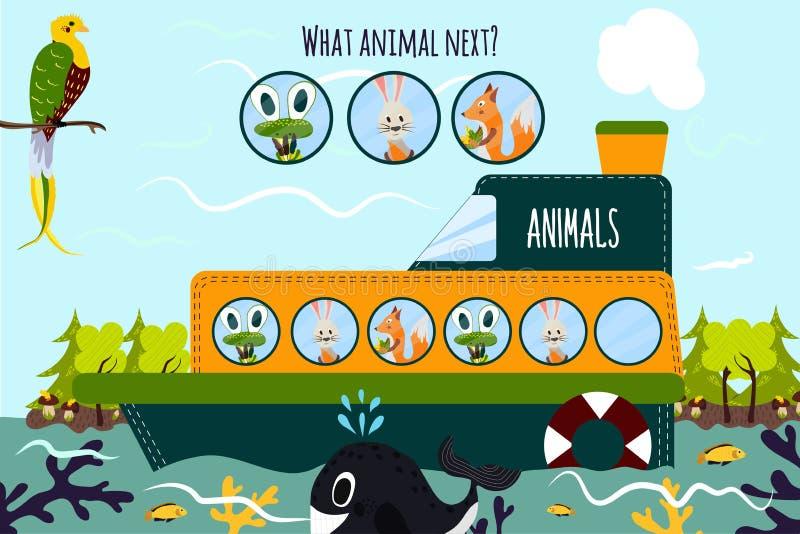 Η διανυσματική απεικόνιση κινούμενων σχεδίων της εκπαίδευσης θα συνεχίσει τη λογική σειρά ζωηρόχρωμων ζώων σε μια βάρκα στον ωκεα απεικόνιση αποθεμάτων