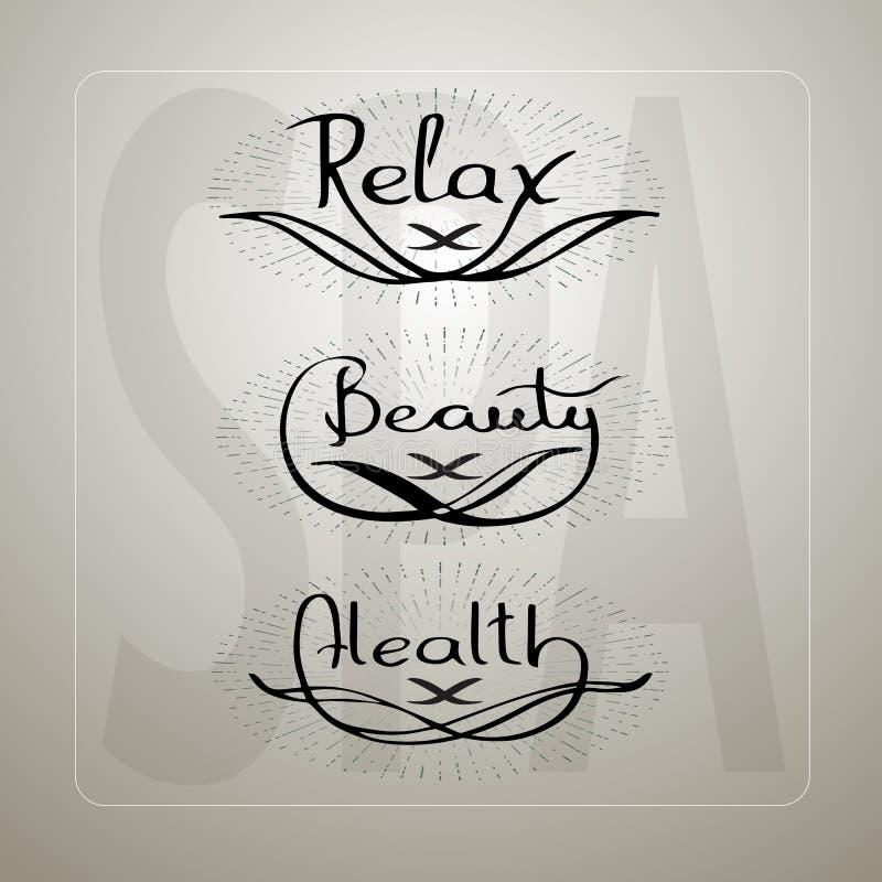 Η διανυσματική απεικόνιση με τις χειρόγραφες λέξεις χαλαρώνει την υγεία ομορφιάς διανυσματική απεικόνιση