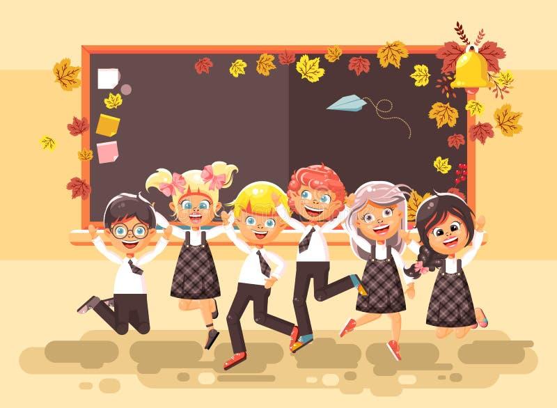 Η διανυσματική απεικόνιση πίσω στους μαθητές μαθητριών μαθητών σχολικών χαρακτηρών κινουμένων σχεδίων τοποθετεί το ευτυχές άλμα σ διανυσματική απεικόνιση