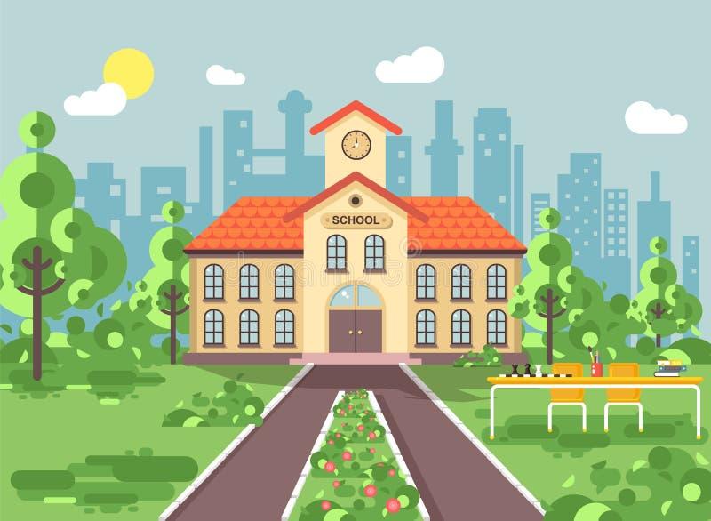 Η διανυσματική απεικόνιση πίσω στο κτήριο δύο-ιστορίας σχολικής αρχιτεκτονικής με το μέρος, ρολόι στον πύργο, δέντρα φυτεύει το ε διανυσματική απεικόνιση