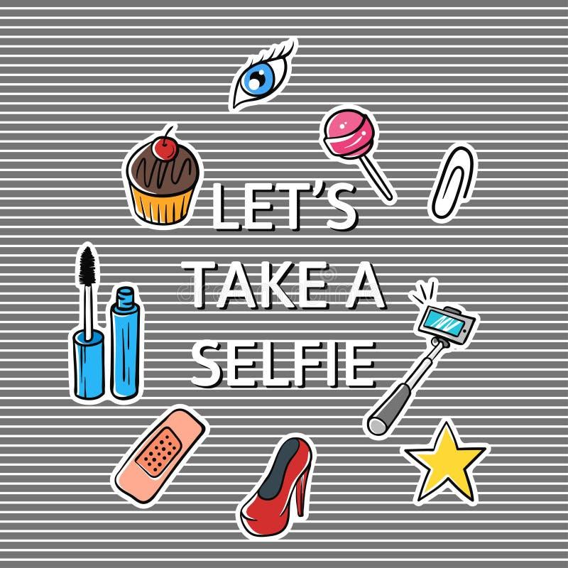 Η διανυσματική απεικόνιση του συνθήματος αφήνει να πάρει ένα selfie απεικόνιση αποθεμάτων