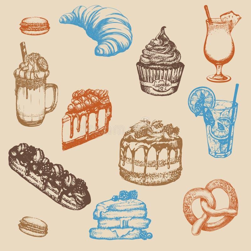Η διανυσματική απεικόνιση του ino frappucÑ  με την κτυπημένα κρέμα και το μπισκότο έκανε το διαθέσιμο συρμένο ύφος σκίτσων απεικόνιση αποθεμάτων